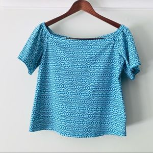 • j mclaughlin • blue patterned stretch top small
